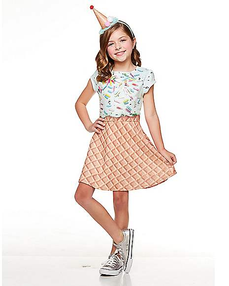 Kids Ice Cream Cone Sprinkle Dress Costume