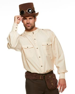 Steampunk Mens Shirts Steampunk Button Down Shirt by Spirit Halloween $29.99 AT vintagedancer.com