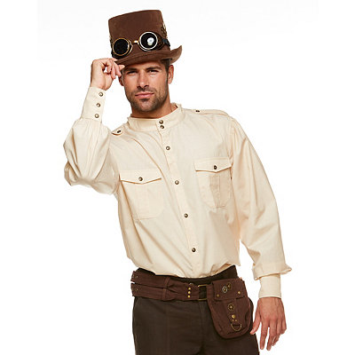 Men's Steampunk Costume Essentials Steampunk Button Down Shirt $29.99 AT vintagedancer.com