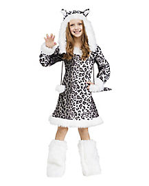 Kids Faux Fur Snow Leopard Costume