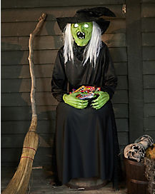 4.5 Ft Sitting Scare Witch Animatronics - Decorations