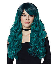 Ash Green Curly Wig with Dark Roots