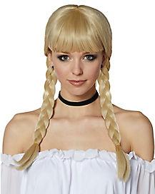 Blonde Braided Pigtail Wig with Bangs