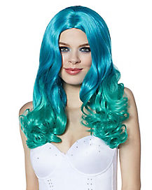 Blue and Green Ombre Curls Wig