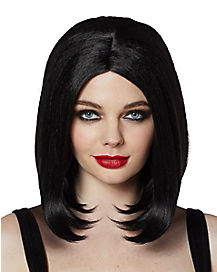 Midlength Black Wig
