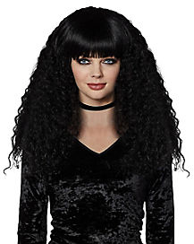 Black Crimped Wig with Bangs