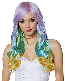 Pastel Rainbow Ombre Curly Wig