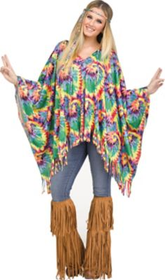 60s Shirts, T-shirt, Blouses | 70s Shirts, Tops, Vests Hippie Poncho Set by Spirit Halloween $21.99 AT vintagedancer.com