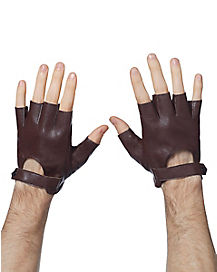 Brown Faux Leather Fingerless Gloves