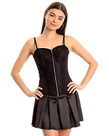 Front Zip Black Lace Corset