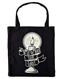 Black Flame Candle Tote Bag - Hocus Pocus