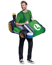 Adult Luigi Kart Inflatable Costume Mario Kart Spirithalloween Com