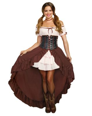 Victorian Costumes: Dresses, Saloon Girls, Southern Belle, Witch Adult Saloon Girl Costume by Spirit Halloween $54.99 AT vintagedancer.com