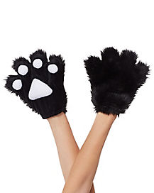 Kids Fuzzy Black Paws