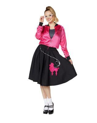 Poodle Skirts | Poodle Skirt Costumes, Patterns Adult Pink Sweeties Costume by Spirit Halloween $44.99 AT vintagedancer.com