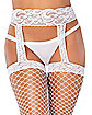 White Lace Top Fishnet Garter Tights