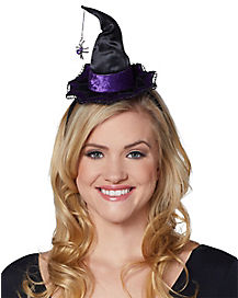 Mini Purple Velvet Witch Hat Headband