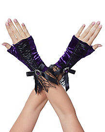 Purple Velvet Witch Gloves - Deluxe