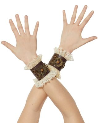 Vintage Style Gloves- Long, Wrist, Evening, Day, Leather, Lace Steampunk Lace Wrist Cuffs by Spirit Halloween $12.99 AT vintagedancer.com