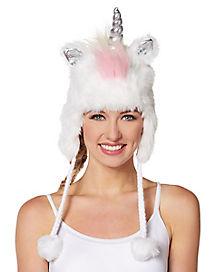 Fuzzy Unicorn Pom Pom Hat