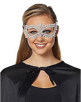 Rhinestone Pearl Eye Half Mask
