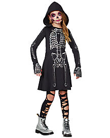 Kids Skeleton Hooded Dress Costume