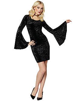Black Velvet Bell Sleeve Dress