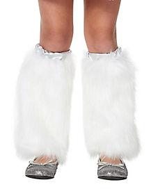 Kids Faux Fur White Unicorn Legwarmers