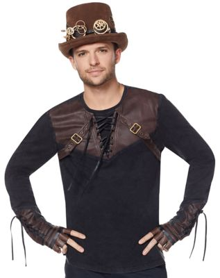 Steampunk Mens Shirts Lace Up Steampunk Shirt by Spirit Halloween $39.99 AT vintagedancer.com