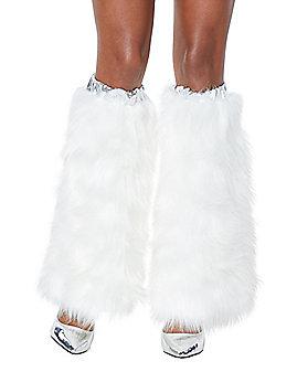 White Faux Fur Legwarmers