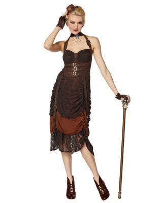 Steampunk Dresses | Women & Girl Costumes Steampunk Halter Dress - The Signature Collection by Spirit Halloween $79.99 AT vintagedancer.com