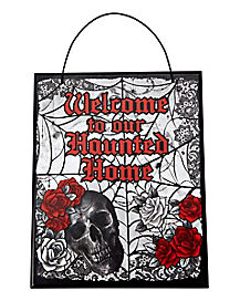 Wooden Gothic Welcome Sign