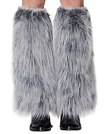 Gray Faux Fur Legwarmers