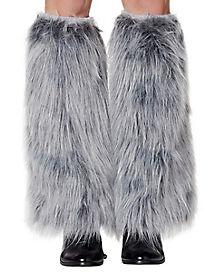 Gray Wolf Faux Fur Legwarmers