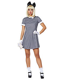 adult doll plaid collared dress