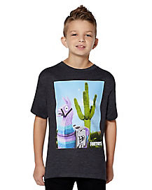 Kids Cactus Loot Llama T Shirt - Fortnite
