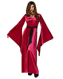 Burgundy Velvet Hooded Robe