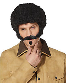70s Black Afro Wig With Mustache