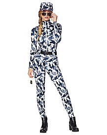 Adult Snow Camo Military Cat Suit Costume