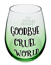 Goodbye Cruel World Stemless Glass 22 oz. - Hocus Pocus