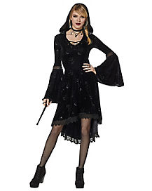 Celestial Coven Hooded Velvet Dress