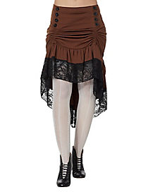 Gathered Steampunk Lace Trim Skirt