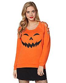 Cross Shoulder Pumpkin Sweatshirt