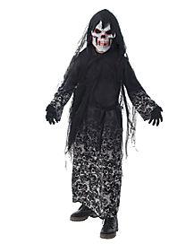 Kids Light-Up El Wire Doom Skeleton Costume