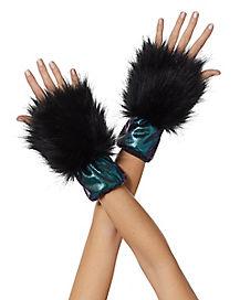 Faux Fur Dark Unicorn Wrist Cuffs