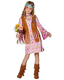 Kids Groovy Gal Hippie Costume