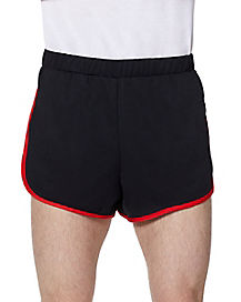 Male Black and Red Athletic Shorts