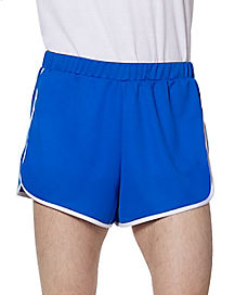 Male Blue and White Athletic Shorts