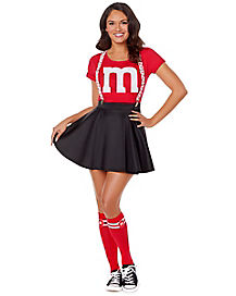 Adult Red M&M's Costume Kit with Suspenders