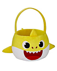 Plush Candy Bucket With Sound Chip  - Baby Shark